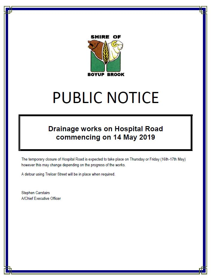 drainage works hospital road 14 May 2019