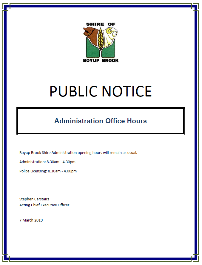 Public Notice Administration Office Hours