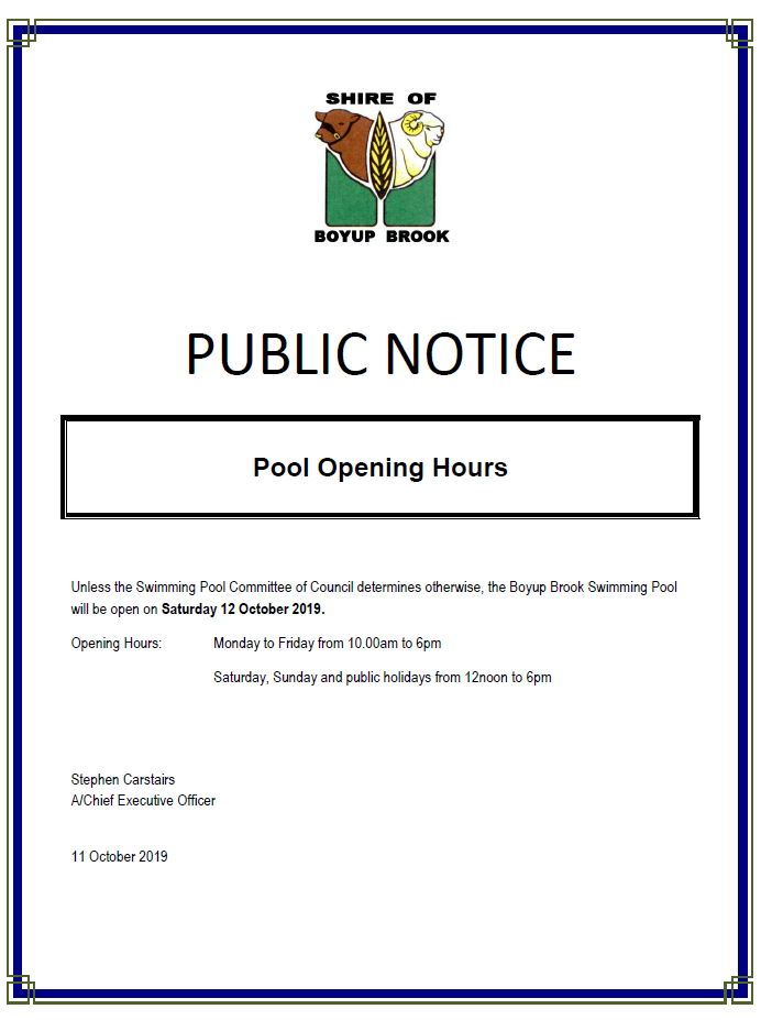 Pool Opening Hours